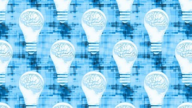 Grafiken, die das Gehirn in einer Glühbirne zeigen