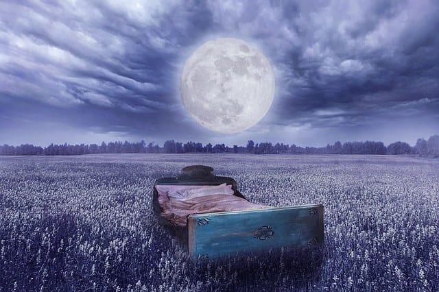 Traumwirklichkeit - ein Bett auf einer Wiese, der Vollmond
